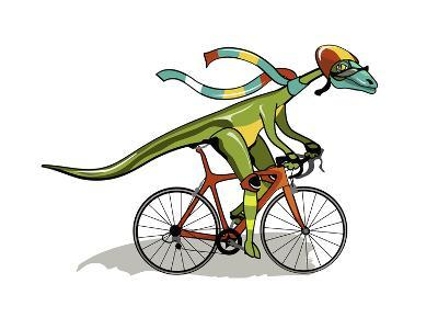 Illustration of An Anabisetia Dinosaur Riding a Bicycle-Stocktrek Images-Photographic Print