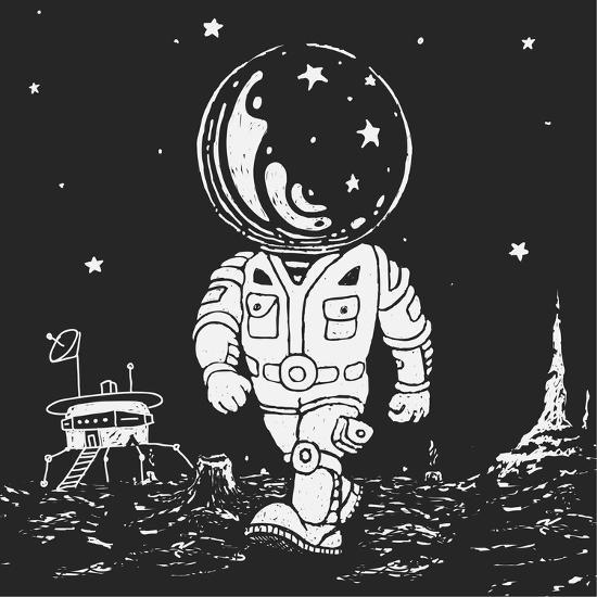 Illustration of an Astronaut Going on A Planet-JoeBakal-Art Print