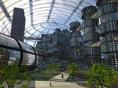 Illustration of an Enclosed City of the Future-Carol & Mike Werner-Photographic Print