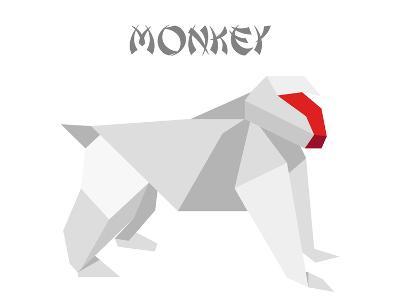 Illustration Of An Origami Monkey-unkreatives-Art Print