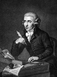Illustration of Austrian Composer Joseph Haydn Working on Composition