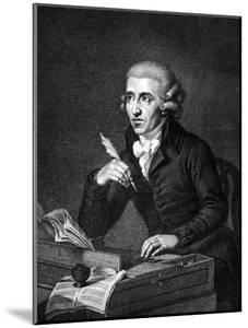 Illustration of Austrian Composer Joseph Haydn Working on Composition