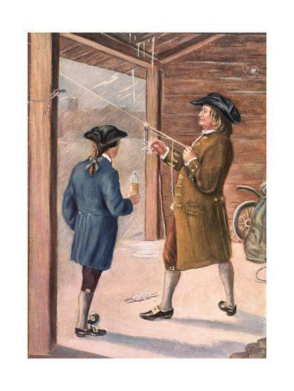 Illustration of Benjamin Franklin and Assistant Performing Lightning Experiment--Giclee Print