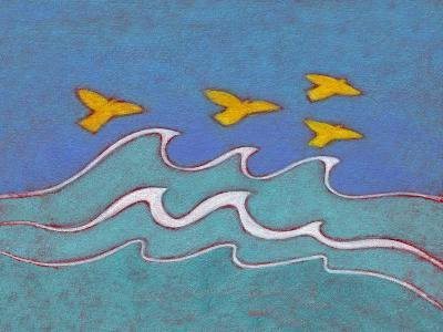 Illustration of Birds Flying above Sea-Marie Bertrand-Photographic Print