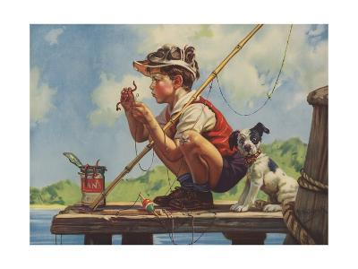 Illustration of Boy Hooking Bait--Giclee Print