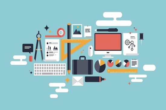 Illustration of Business Working Elements-bloomua-Art Print