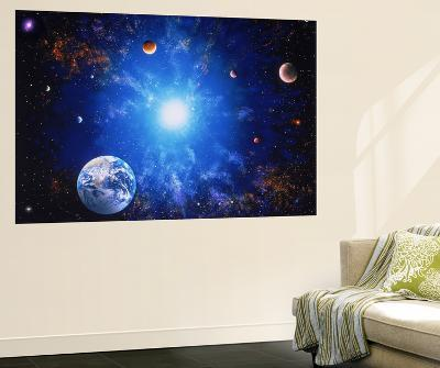 Illustration of Earth and Glowing Star-Ron Russell-Wall Mural