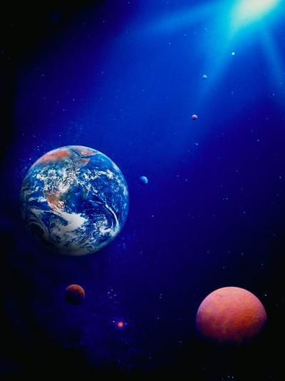 Illustration of Earth and Space-Ron Russell-Photographic Print