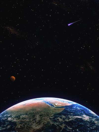 Illustration of Earth, Comet and Planet-Ron Russell-Photographic Print