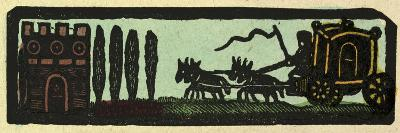 Illustration of English Tales Folk Tales and Ballads. a Coach Drawn by Four Horses on the Road to a--Giclee Print