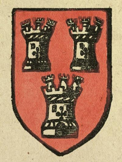 Illustration of English Tales Folk Tales and Ballads. a Coat of Arms Depicting Three Castles--Giclee Print