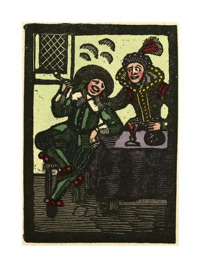 Illustration of English Tales Folk Tales and Ballads. a Glass of Wine and a Pipe. Man and Woman--Giclee Print
