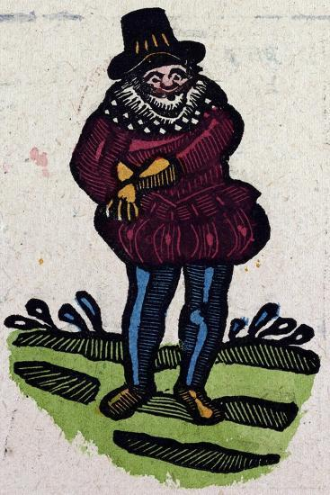 Illustration of English Tales Folk Tales and Ballads. a Man in Colourful Clothes Reaching for Somet--Giclee Print