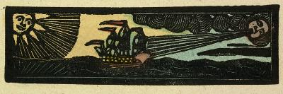 Illustration of English Tales Folk Tales and Ballads. a Ship Being Blown by the Wind--Giclee Print