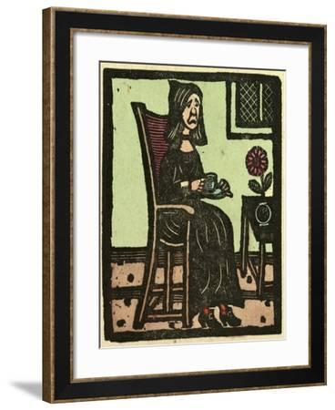 Illustration of English Tales Folk Tales and Ballads. a Woman Drinking a Cup of Tea--Framed Giclee Print