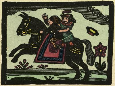 Illustration of English Tales Folk Tales and Ballads. Two Children on a Horse--Giclee Print