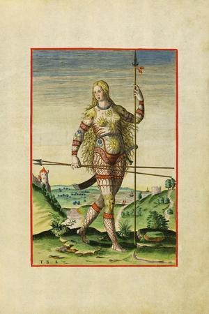 Illustration of Feminae Pictea from Theodor Debry's Narratio Virginiae, 1590-Theodor de Bry-Giclee Print