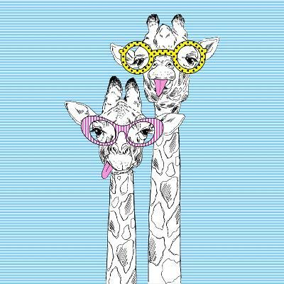 Illustration of Giraffes in Funky Glasses-Olga_Angelloz-Art Print