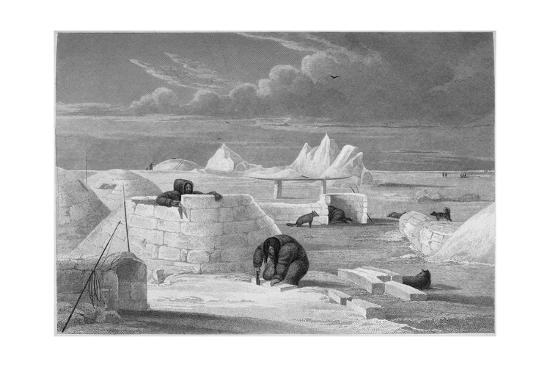 Illustration of Inuits Building an Igloo-Edward Finden-Giclee Print