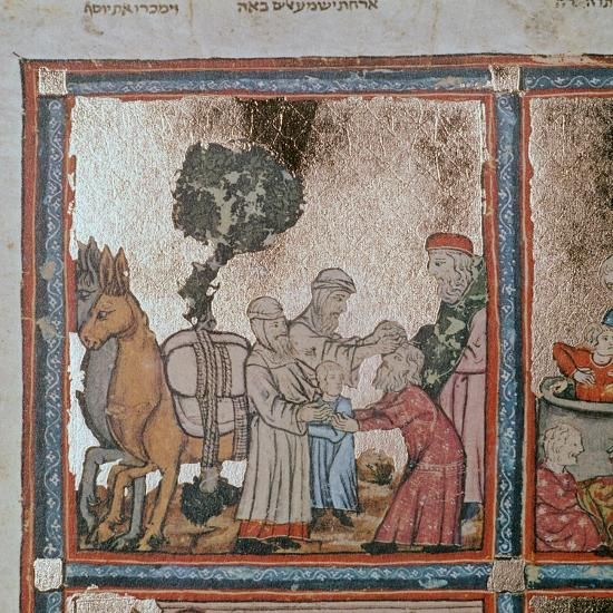 Illustration of Joseph being sold by his brothers, 14th century-Unknown-Giclee Print