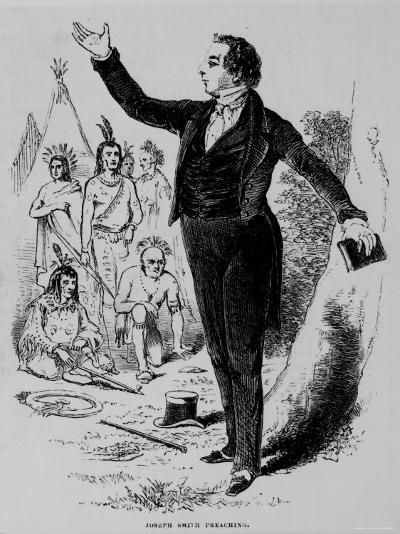 Illustration of Joseph Smith, Founder of Mormon Church, Preaching to a Group of Indians--Photographic Print