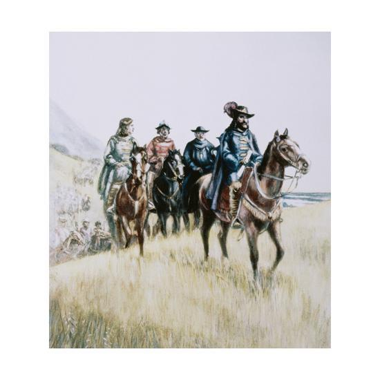 Illustration of Juan Bautista De Anza on Horseback--Giclee Print