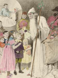 Illustration of Nicolo and the Krampus, Showing a Saint Nicholas Giving Presents to Children