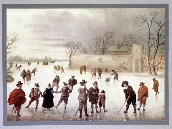 Illustration of people playing golf on frozen water, c18th century-Unknown-Giclee Print