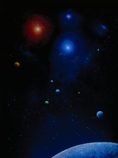 Illustration of Planets and Stars-Ron Russell-Photographic Print