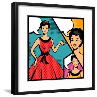 Illustration of Retro Girl in Pop Art Style-incomible-Framed Premium Giclee Print