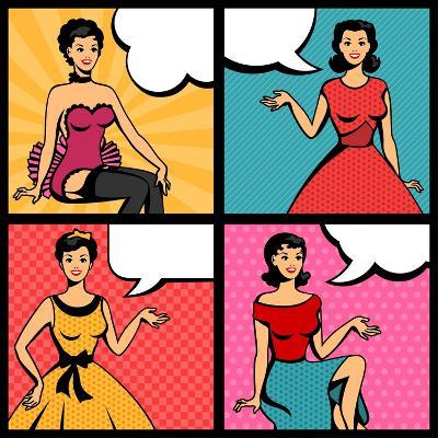 Illustration of Retro Girls in Pop Art Style-incomible-Art Print