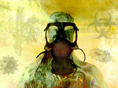 Illustration of Risk, Showing a Person in Hazardous Materials Suit and Face Mask-Carol & Mike Werner-Photographic Print