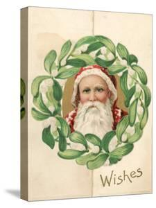 Illustration of Santa Claus in Midst of Mistletoe Wreath in Christmas Card