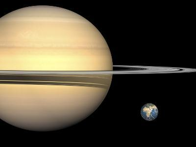 Illustration of Saturn and Earth to Scale-Stocktrek Images-Photographic Print