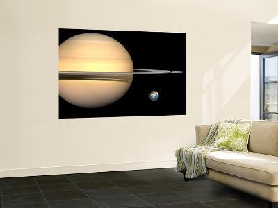 Illustration of Saturn and Earth to Scale-Stocktrek Images-Wall Mural