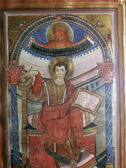 Illustration of St Mark holding his gospel, 8th century-Unknown-Giclee Print