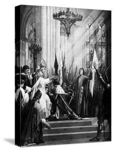 Illustration of the Coronation of the Dauphin in the Cathedral at Rheims ; Joan of Arc Attending