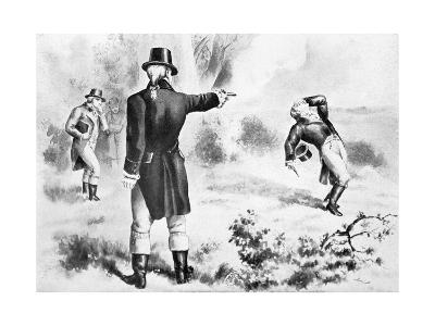Illustration of the Duel Between Alexander Hamilton and Aaron Burr--Giclee Print