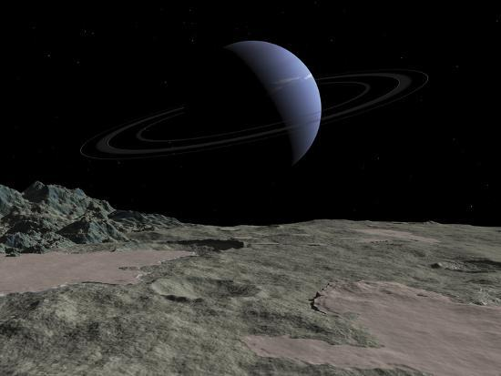 Illustration of the Gas Giant Neptune as Seen from the Surface of its Moon Triton-Stocktrek Images-Photographic Print
