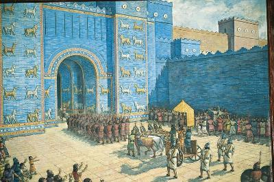 Illustration of the Ishtar Gate in Ancient Babylon--Giclee Print