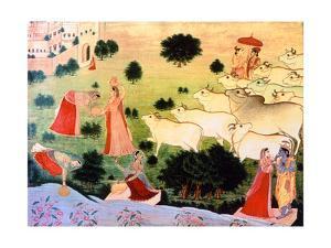 Illustration of the Meeting of Krishna and Radha, (Krishna's Favourite Amongst the Gopi Girls) on…