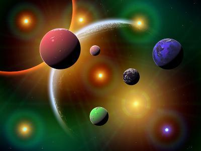 Illustration of the Variations of Stars and Planets in the Milky Way Galaxy-Stocktrek Images-Photographic Print