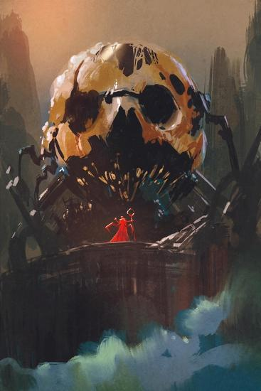 Illustration Painting of Villain Standing in Front of Skull Building-Tithi Luadthong-Art Print