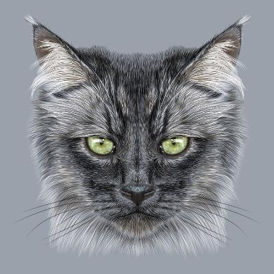 Illustration Portrait of Domestic Cat. Cute Black Cat with Green Eyes.-ant_art19-Art Print