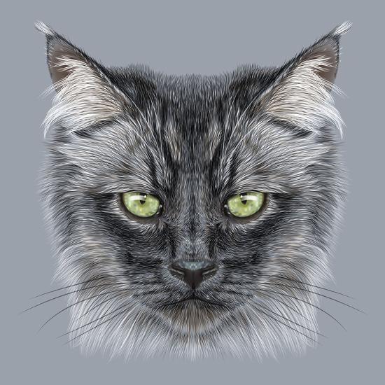 Illustration Portrait Of Domestic Cat Cute Black Cat With Green