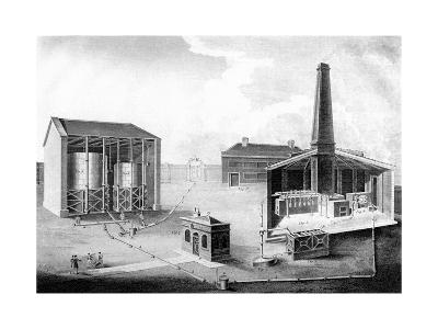 Illustration Showing the Working Spaces of a Gas Works, 1828--Giclee Print
