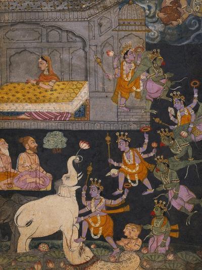Illustration to a Gajendra Moksha Series Depicting Vishnu Rescuing the Elephant King--Giclee Print