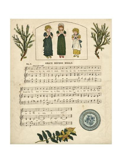 Illustration with Music, Grace before Meals-Kate Greenaway-Giclee Print