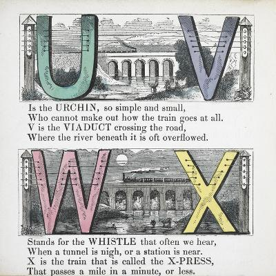Illustrations Of Letters U, V, W and X: Urchin, Viaduct, Whistle and X-press--Giclee Print