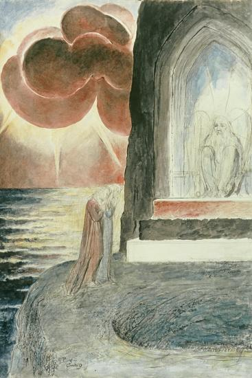 Illustrations to Dante's 'Divine Comedy', Dante and Virgil Approaching the Angel-William Blake-Giclee Print
